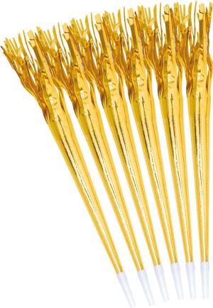 Tröte mit Fransen gold 6 Stück