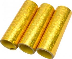 Luftschlangen Gold Hologramm 3 Rollen