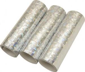Luftschlangen Silber Hologramm 3 Rollen