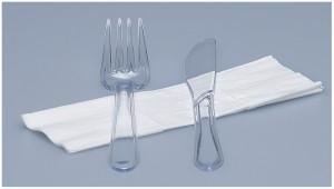 Besteckset glasklar, 3-teilig (100 Stück)