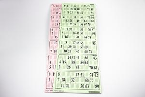 6er Lottokarten 1-90 vertikal