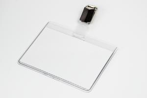 Namensschild mit Clip 90x60 mm