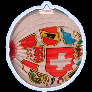 Lampion rund Schweizerkreuz und allen Kantonswappen