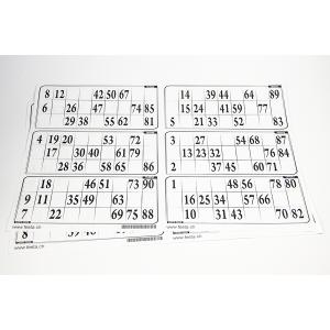 6er Lottozettel aus Papier 1-90