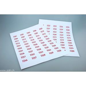 Selbstklebe-Nummern mit Druck farbig