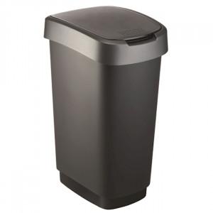 Abfalleimer TWIST 50 lt, schwarz/dunkelsilber