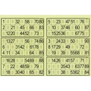 6er Lottokarten 1-90
