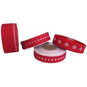 Repsband mit Schweizerkreuz gestickt 55mm breit
