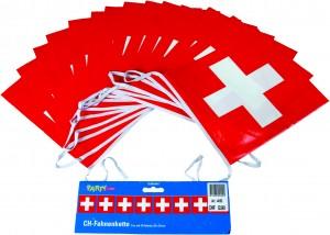 Guirlande de fanions croix suisse en plastique